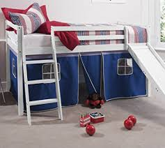 Bunk Bed With Slide And Tent Noa And Nani Cabin Bed White Mid Sleeper Bunk With Slide Blue Tent
