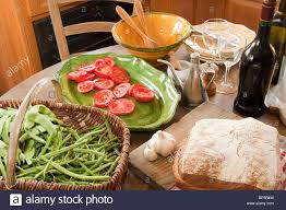 food on table in french country kitchen stock photo royalty free