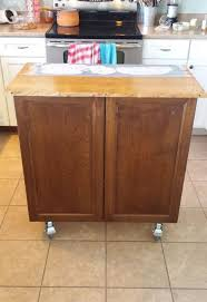 furniture kitchen cabinet kitchen cabinet turned roll away cart moveable island hometalk