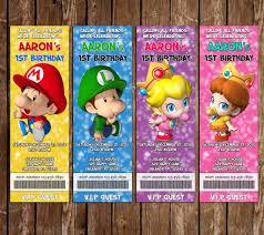 mario invitations novel concept designs baby super mario bros ticket video game