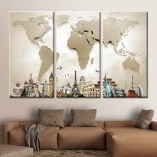 Decor Tips Amazing 3 Piece World Map Wall Art For Modern Living