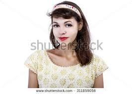 fashioned hair portrait young female old fashioned hairstyle stock photo