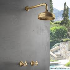Outdoor Shower Fixtures Copper - regal 15mm shower taps pair raw brass with antique handles
