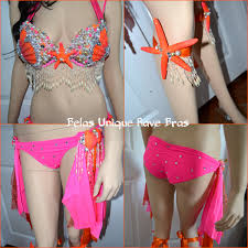 neon pink orange mermaid shell bra cosplay dance costume rave bra