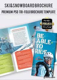 ski u0026snowboard v01 premium tri fold psd brochure template vector