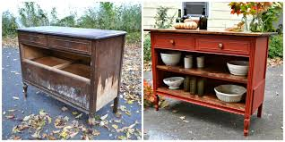 repurposed dresser to chevron kitchen buffet with butcher block heir and space an antique dresser turned kitchen island amazing