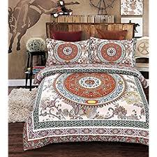 bohemian moroccan duvet cover set elegant floral pattern colorful