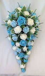 turquoise flowers bouquet artificial wedding flowers brides teardrop bouquet in