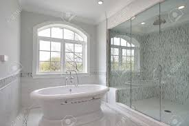master bath in new construction home with large glass shower stock master bath in new construction home with large glass shower stock photo 6738088