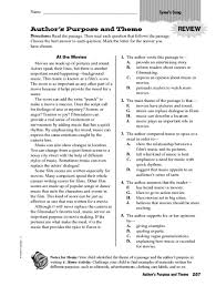 author u0027s purpose and theme review 4th 5th grade worksheet