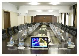 Touch Screen Conference Table Retractable Touch Screen Conference Table Built In Motorized