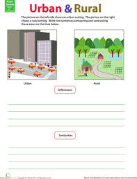 compare and contrast rural and urban worksheet education com