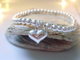 silver bead bracelet with heart images Sterling silver ball bead bracelet heart charm bracelet silver jpg