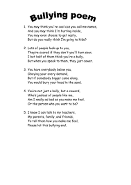 anti bullying poem by welshyeti teaching resources tes