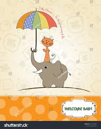 baby shower card funny elephant little stock vector 118760854
