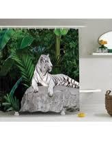 White Tiger Shower Curtain Wildlife White Shower Curtains Bhg Com Shop