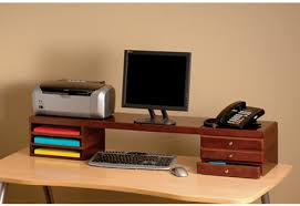 ultimate office woodworx desktop risers for space saving storage