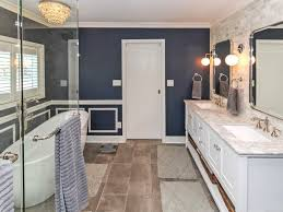 Gray And Blue Bathroom Ideas - charlotte navy blue bathroom ideas transitional with his hers