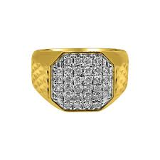 mens gold diamond rings 1 00cttw diamond octagon 10k yellow gold mens ring 10k gold