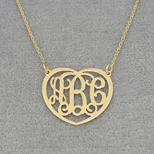 monogram neclace small gold 3 initials heart monogram necklace 3 4 inch wide