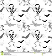 Halloween Skeleton Pattern by Seamless Pattern Of Skeleton Skull And Bat On White Background
