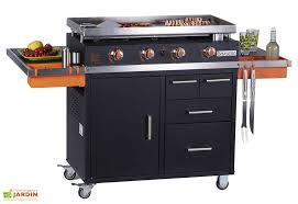 cuisine sur plancha gaz sur chariot 4 brûleurs 11 kw benita