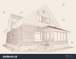 authors design residential house blueprint perspective stock
