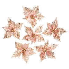 rose gold poinsettia clips set of 6 christmas tree decorations