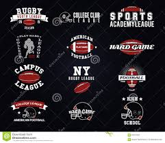 set of american football college labels logos stock vector