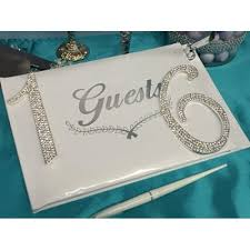 sweet 16 guest book sweet 16 signature guest book with silver rhinestone number 16