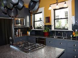 blue grey painted kitchen cabinets