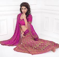 rani pink colour auspicious pink color embroidered lehenga products pinterest
