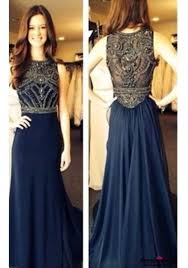 dress navy dress beadding formal dresses blue long prom dress
