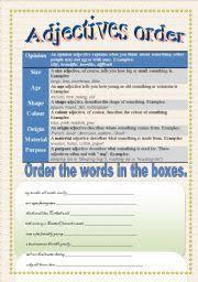 english worksheets adjective order worksheets page 4