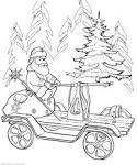 """ซานตาคลอสบนรถเข็น """"ระบายสีสำหรับเด็ก พิมพ์สีเด็กฟรี สัตว์สี ..."""