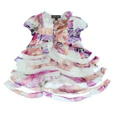 roberto cavalli kids baby girls floral print dress with collar and