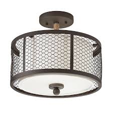 Flush Mount Lighting Fixtures Shop Kichler 12 99 In W Olde Bronze Fabric Semi Flush Mount Light