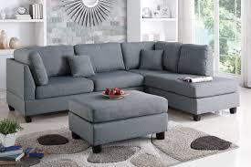 Reversible Sectional Sofa Poundex Bobkona F7606 Grey Reversible Chaise Sectional Sofa Ottoman