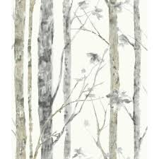 Wall Mural White Birch Trees Roommates 28 18 Sq Ft Birch Trees Peel And Stick Wall Decor