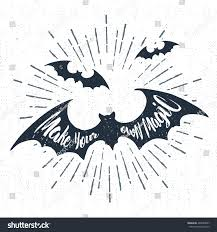 hand drawn halloween label textured bats stock vector 484089907