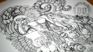warrior angel u0026 dragon tattoo design speed drawing youtube