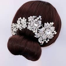 flower for hair wedding bridal hair accessories wedding hair comb silver tone rhinestone