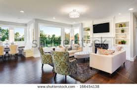 new homes interior beautiful living room interior hardwood floors stock photo