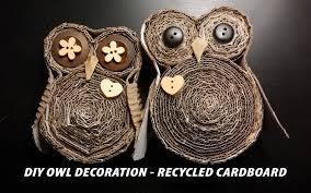 diy owl decoration recycled cardboard youtube