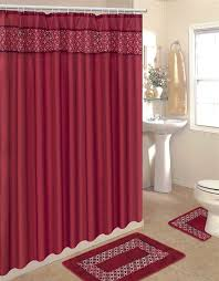 Red Shower Curtain Hooks Solid Embroidered 15 Pcs Bathroom Shower Curtain Hook Bath Rug