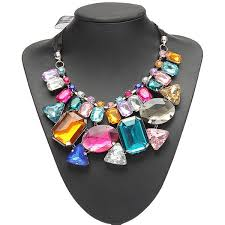 big crystal necklace images Luxury colorful big crystal statement necklace ribbon chain jpg