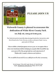 invitation to white river park dedication geneva lake conservancy