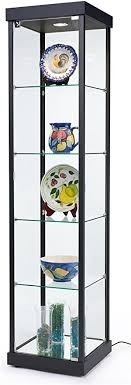 tempered glass shelves for kitchen cabinets displays2go tempered glass curio cabinet with 1 overhead halogen light 75 x 17 7 8 x 17 7 8 inch locking mirrored base with floor levelers 4 glass