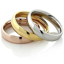 three ring stainless steel yellow gold and silver three ring