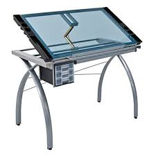 Glass Top Drafting Drawing Table Studio Designs 10050 Futura Craft Station Silver Blue Glass